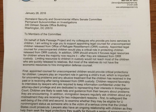 Safe Passage Letter to the Homeland Security and Governmental Affairs Senate Committee