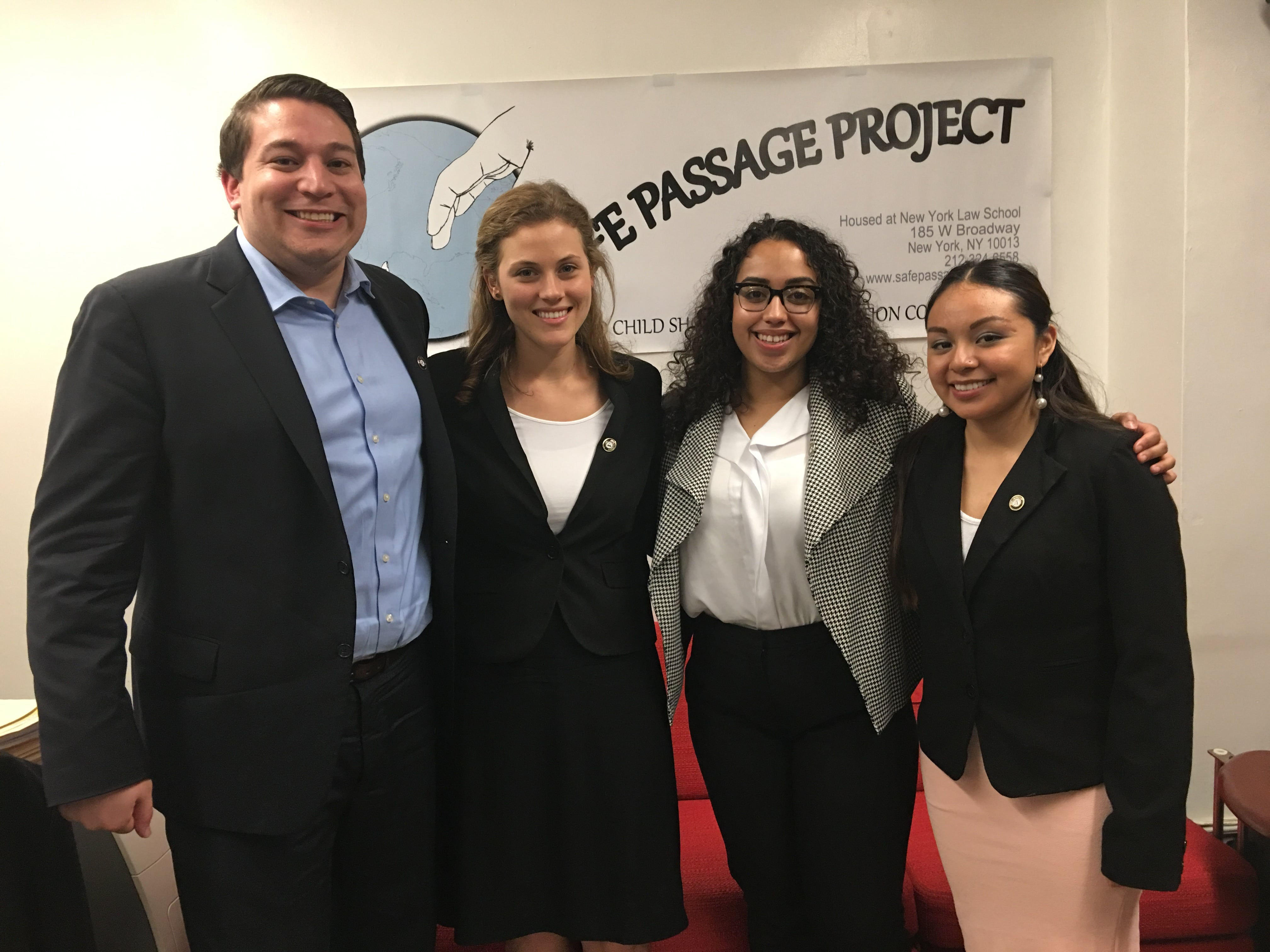justice AmeriCorps fellows Juan Carlos Chiquillo, Charlotte Fager, Luisa Lebron and Elizabeth Rivera.
