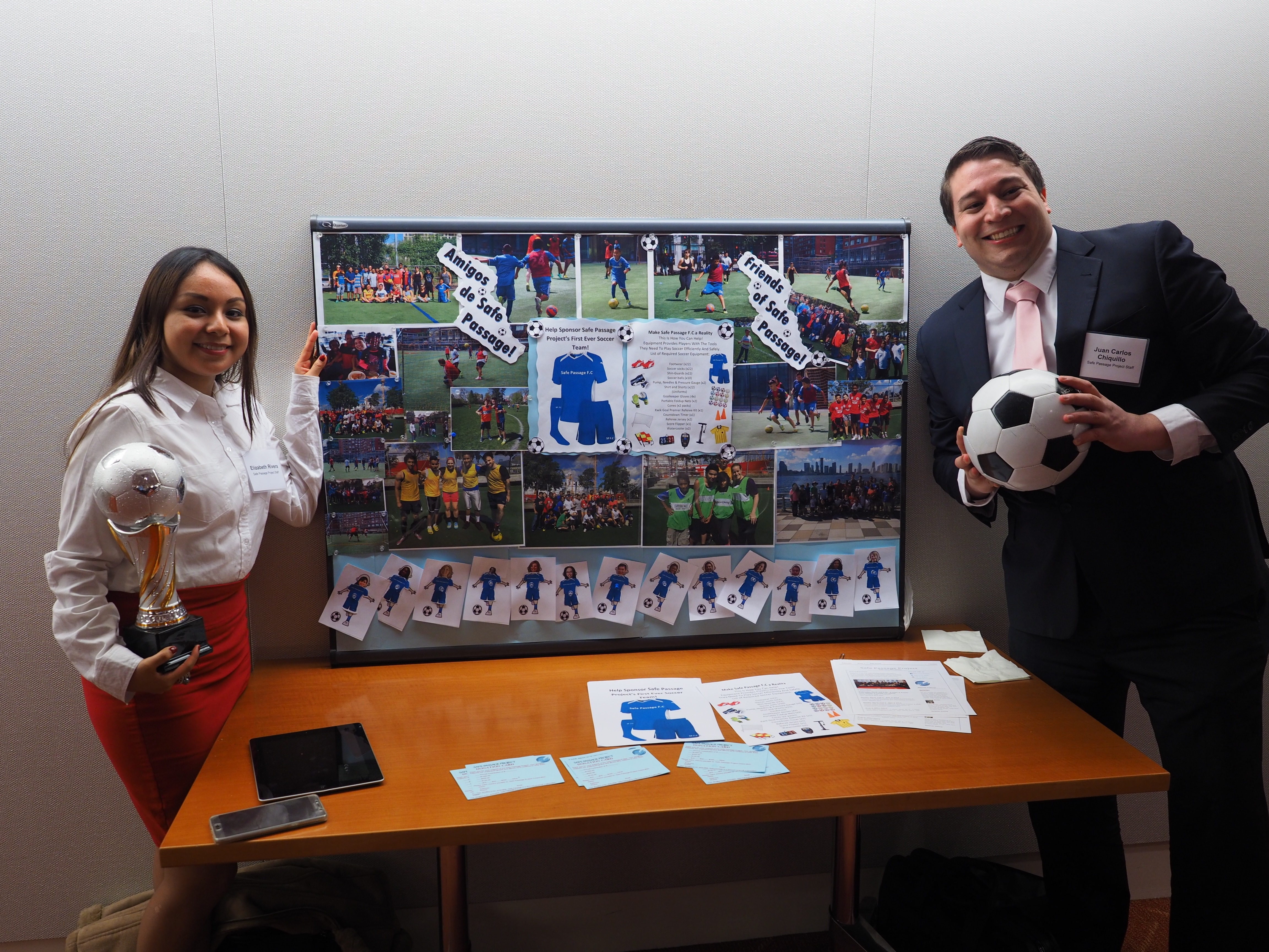 justice AmeriCorps fellows Elizabeth Rivera and Juan Carlos Chiquillo raise money for Amigos de Safe Passage Project soccer game